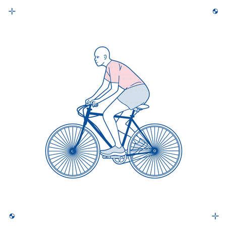 Man rides a bicycle 矢量图像