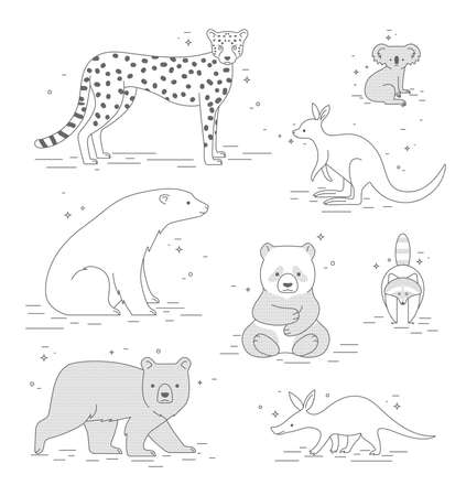 Vector set with animals. Icon set of cute mammals black and white in childrens style. Çizim