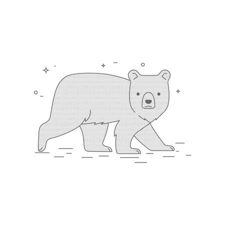 Brown bear line art illustration. Icon or loro design.
