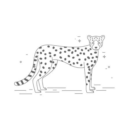 Leopard vector black and white illustration in childrens style.