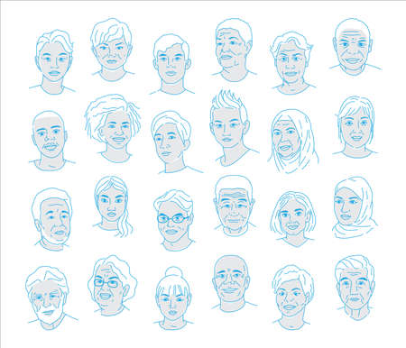 A collection of portraits of people of different nationalities and ages. Men and women of all races. Icons for user research experience, customer profile.