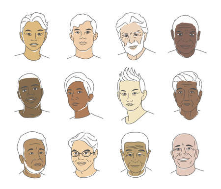 A collection of portraits of people of different nationalities and ages. Men of all races. Icons for user research experience, customer profile.