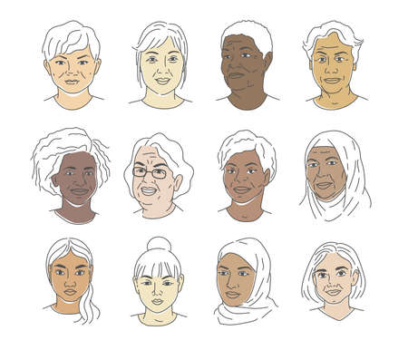 A collection of portraits of people of different nationalities and ages. Women of all races. Icons for user research experience, customer profile.