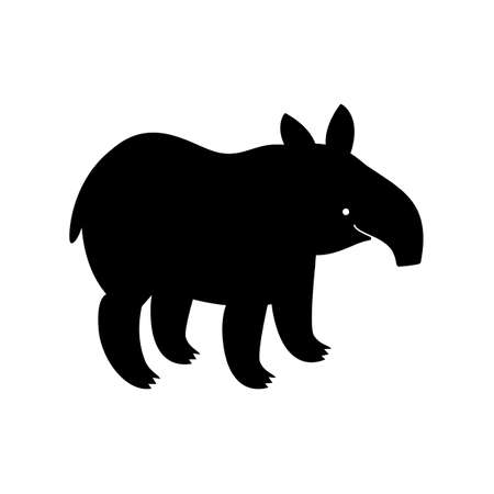 Tapir, animal, vector path for laser cutting, shadow black color, cute childish flat style. Illusztráció