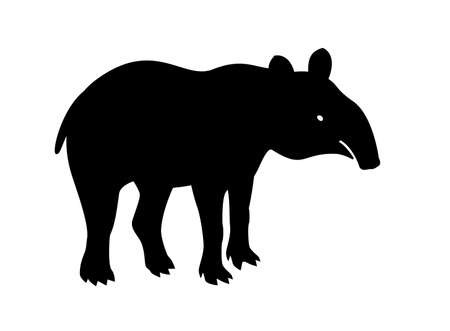 Tapir, animal, vector path for laser cutting, shadow black color, cute flat style.