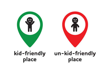 Kid friendly emblem sticker for child cafe, play zone and area. Geotag sign with a picture of a happy and unhappy child. Designation of places for toddlers on the map.