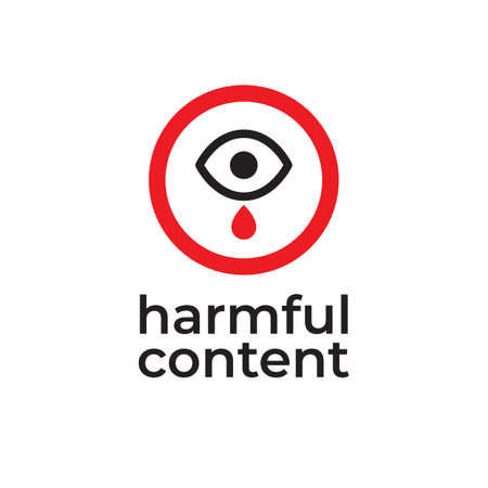 Parental control icon, vector clip art. Harmful content. Warning sign, notice, danger sign. Social problem.