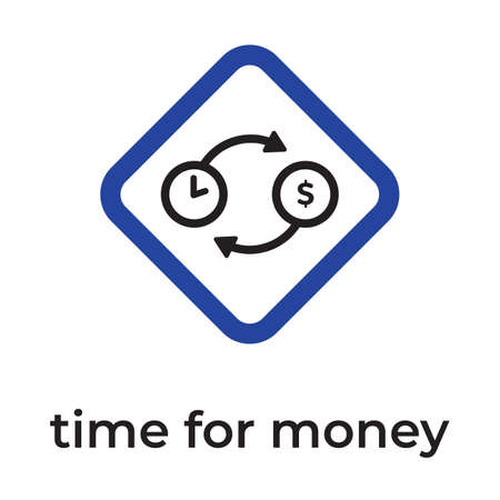 Clock, dollar icon. Simple line, outline vector elements of time management for ui and ux, website or mobile application. Exchange of time for money and back.
