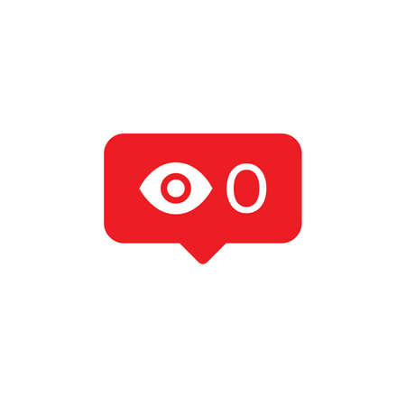 Flat design social network rating icon. Social media notification, zero views, no look, eye icon, red message bubble. Illusztráció