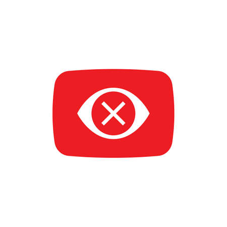Play button, video icon,   symbol red banner, flat vector, social media sign, mobile app, web video mark vector