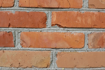 Fragment of the brick wall fixed with a close-up photo shooting 版權商用圖片