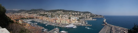 Panorama of old harbour of Nice, France