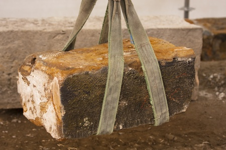 reconstructing: Stone of Charles Bridge carried during reconstruction Stock Photo