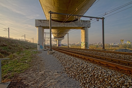 Two levels of rail tracks above each other Stock Photo