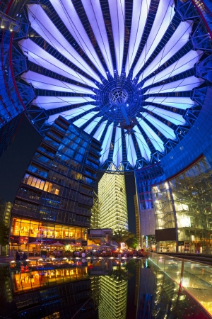 Berlin, Germany, May 20th, 2012 - Berlin Sony Center Potsdamer Platz upwards night panorama with impressive conical roof.