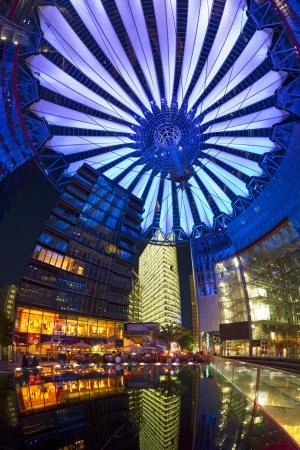Berlin, Germany, May 20th, 2012 - Berlin Sony Center Potsdamer Platz upwards night panorama with impressive conical roof.