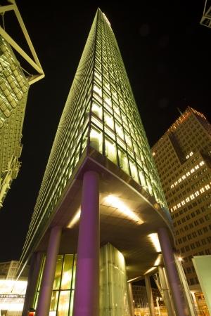 Germany, Berlin, Potsdamer Platz, May 20th, 2012 - Head office Deutsche Bahn illuminated at night