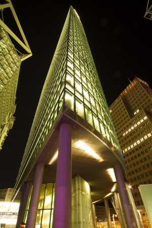 Germany, Berlin, Potsdamer Platz, May 20th, 2012 - Head office Deutsche Bahn illuminated at night