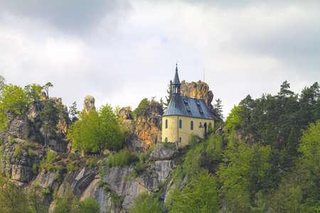 Vranov Pantheon rock castle amidst sandstone rock formations and cliffs near Malá Skala in Czech Republic  Editorial