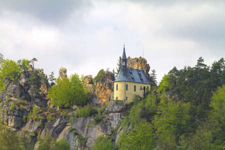 Vranov Pantheon rock castle amidst sandstone rock formations and cliffs near Malá Skala in Czech Republic