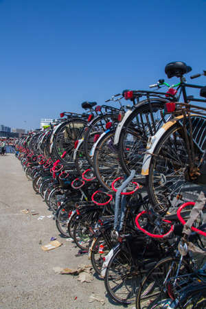 Two levels of bikes parked above each other in Amsterdam, the Netherlands Stock Photo - 24251089