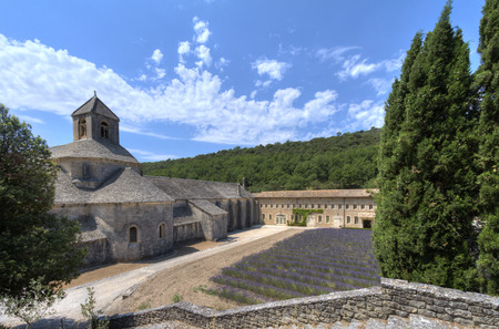 Side view of  medieval Senanque abbey, a Cistercian abbey near Gordes in Provence, France,w ith blossoming lavender field Editorial