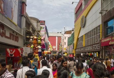 Very busy market street in Chennai, Madras, India