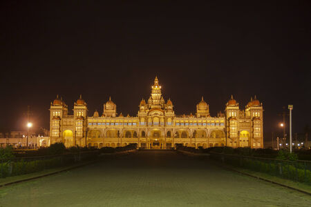 Palace of Mysore in India, illuminated in the night
