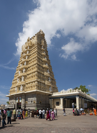 shakti: Hindu pilgrims gathering in front of Chamundeshwari hindu temple in India