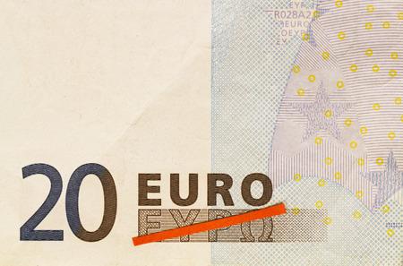 Görög kilépés, Görögország kilépne az Euro láthatóvá piros vonal áthúzva görög szó Euro 20 Euro bankjegy Stock fotó