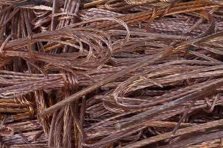 Large heap of twisted copper wire collected for recycling Stock Photo
