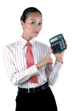 Elegant office girl calculating numbers, holding calculator, wearing elegant clothes. photo