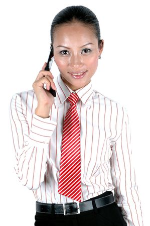 Pretty Chinese office girl, smiling, holding mobile phone.