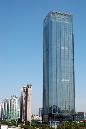 futian: China, Guangdong province, Shenzhen city. Modern Chinese skyscrapers, office buildings in Futian district. Stock Photo