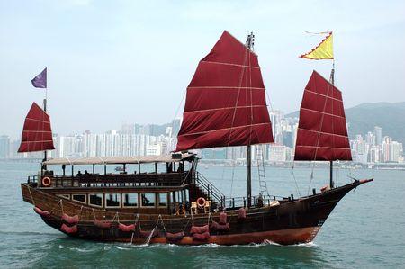 Hongkong, harbour between Kowloon and Hongkong Island with beautiful ship made in old style.