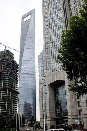 tallest: Shanghai - business city center with tallest skyscraper and modern offices buildings. Stock Photo