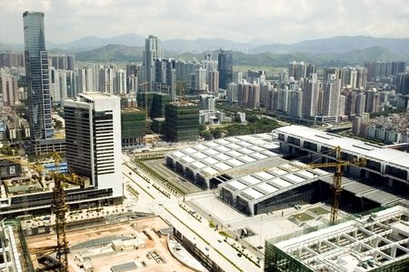 Chinese metropolis - modern Shenzhen city with offices skyscrapers, hotels and residential buildings. photo