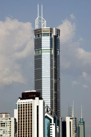 futian: China, Shenzhen city - modern skyscraper in city center, Futian district.