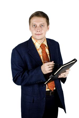 Young, successful and happy businessman holding pen and notebook. Stock Photo - 3529817