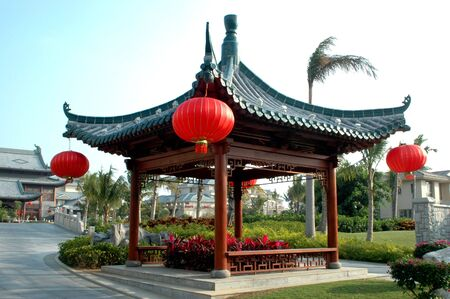 Chinese pavillion in Sanya, Hainan Island, decorated with red lantern for Chinese New Year.