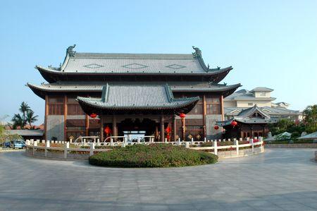 China, Hainan island, Sanya - Yalong Bay. Holiday resort, hotel build in traditional Chinese style, wooden architecture.