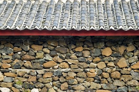 stoned: China, Lijiang town - stoned wall in ancient water town with simple roof, typical Chinese architecture. Stock Photo