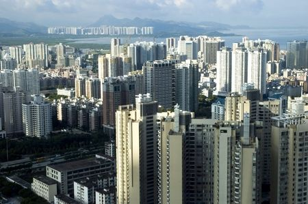 Chinese metropolis - Shenzhen, modern city full of skyscrapers, office buildings, hotels and residential areas. Stock Photo - 3609802