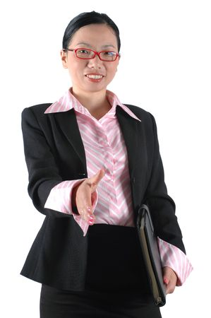 asian office lady: Asian office lady shaking hands, welcoming. Chinese businesswoman, wearing ladys suit and shirt.
