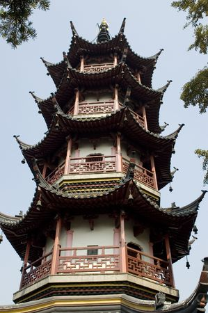 jiangsu: Ancient, traditional tower with typical wooden roof in Nantong city, Jiangsu province, China.