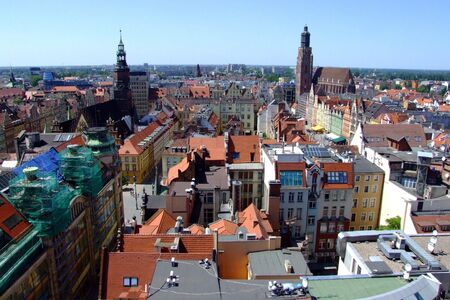 Poland, Wroclaw - beautiful cityscape with blue sky, general city view from Maria Magdalenas Church tower. Stock Photo