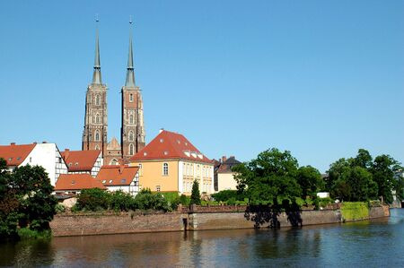 Poland, Wroclaw cityscape with most famous cathedral and Odra river. photo