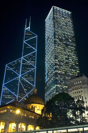 highest: Hongkong, city center with highest and most famous skyscraper with beautiful luminescence.