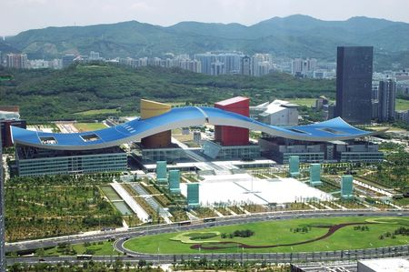 civic: Shenzhen cityscape with Civic Center and park in city center, Guangdong province, China.