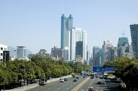 guangdong: Modern metropolis general cityscape with modern skyscrapers and main road - Shennan Avenue. Shenzhen city, Guangdong province, China.
